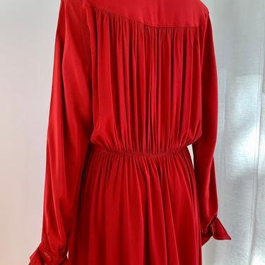 1940-50s Rayon Dress - Vivid Red Fabric - Interesting Back Yoke Gathered Detail - Gathered Skirt - Size Medium to Large - 30 Inch Waist by GabrielasVintage