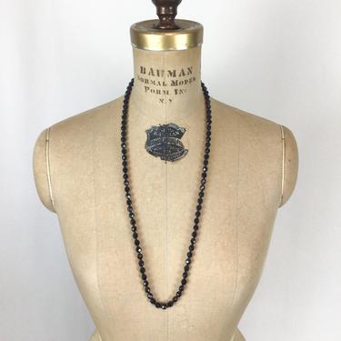 Vintage 50s Necklace   Vintage jet black faceted bead single strand necklace   1950s beaded single strand necklace by BeeandMason