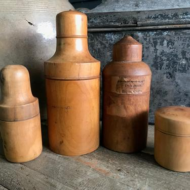 Antique French Apothecary Bottles, Turned Wood Bottle Cases, Set of 4 by JansVintageStuff