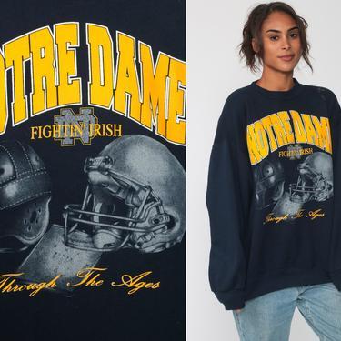 Notre Dame Sweatshirt 90s FIGHTING IRISH Football University Sweatshirt College Graphic Sweater Vintage Raglan Navy Blue Extra Large xl by ShopExile