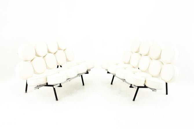 George Nelson For Herman Miller Style Mid Century Marshmallow Sofa White - Pair - mcm by ModernHill