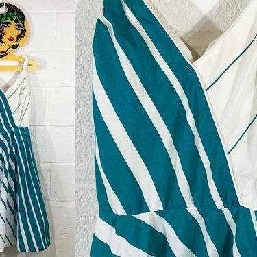 Vintage Dash-About Sundress Striped Sun Dress Strappy Spaghetti Straps White Blue Green 1970s 70s Sleeveless Boho Midi Summer XS XXS Small by CheckEngineVintage