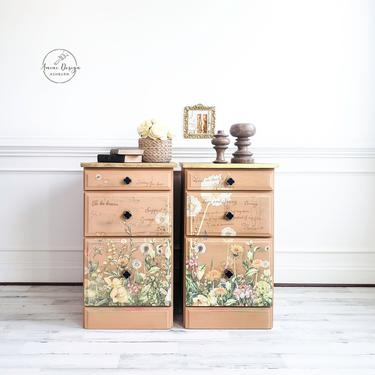 Tall Nightstands. Floral Chests. Chest of Drawers, Bedroom Dresser. Refinished Dresser. Painted Nightstands. Textured Nightstands. by AminiDesignAshburn