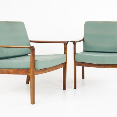 Frederick Kayser Style Mid Century Rosewood Easy Lounge Chairs - Pair - mcm by ModernHill