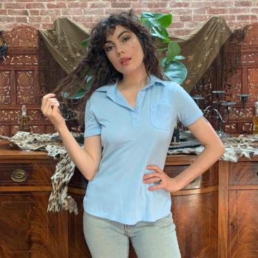 70's BABY BLUE TEE - collar - v-neck - medium/large by GlamItToHell