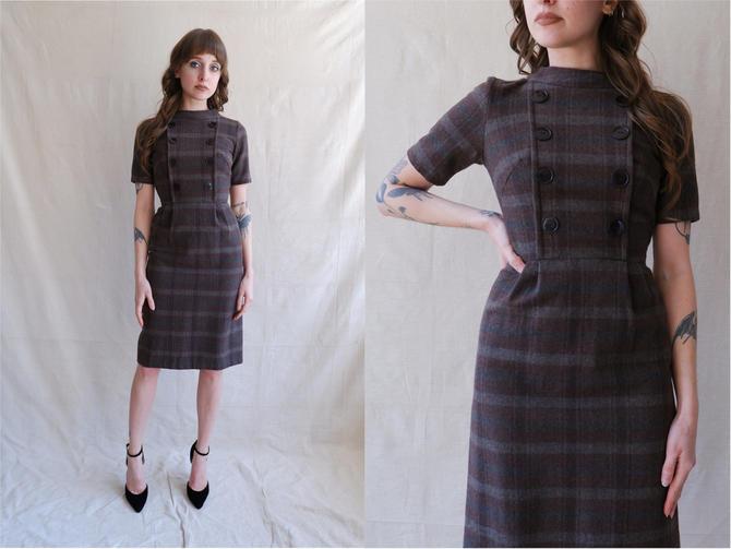 Vintage 50s Plaid Wool Dress/ 1950s Brown Grey Short Sleeve Wiggle Dress/ School Girl/Size XS by bottleofbread