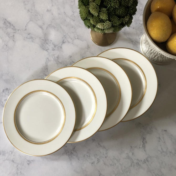 Vintage Fukagawa Dorset Imperial Bone China Plates, set of 4 bread and butter plates, white and gold china, japanese dinnerware 7000G by ShopTheHyphenate