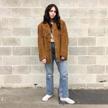 Vintage Fringe Suede Jacket Retro 1980s Rancher + Authentic Western Styling + Schott + Genuine Leather + Cognac + Size 46 + Unisex Apparel by RetrospectVintage215