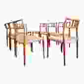 Set of 8 Danish Teak Roping Side Chairs by Neils O. Moller