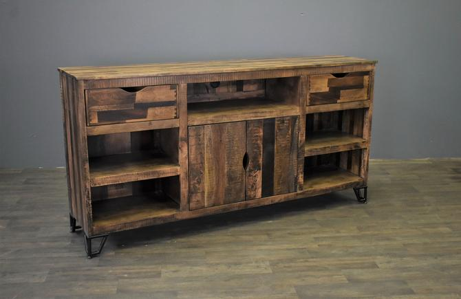 Farmhouse Rustic Solid wood 80 inch Media Console / Sideboard with 2-drawers and 2-doors by RusticShop1
