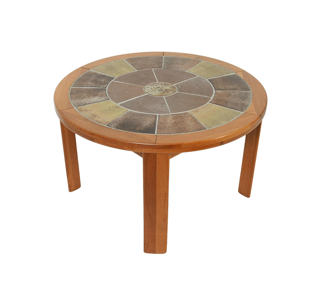Teak Coffee Table With Hand Made Tile Center Made By