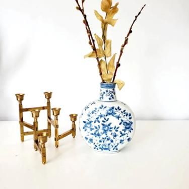 Vintage Blue & White Floral Chinoiserie Vase by pennyportland