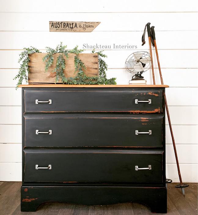 Vintage Industrial Black Dresser
