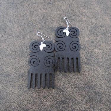 Afro comb earrings, adinkra earrings, wooden earrings, Afrocentric African earrings, bold statement earrings, tribal wood earrings, black 2 by Afrocasian