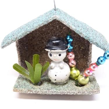 Vintage Snowman Christmas Ornament,  Antique Glitter House, Retro Decor, Mercury Glass Beads by exploremag