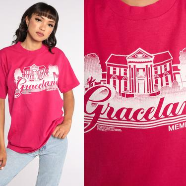 Vintage Graceland Tshirt Memphis Shirt Graphic Tee Retro TShirt Tennessee T Shirt 80s Travel Tee Hot Pink Large by ShopExile