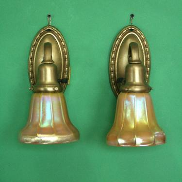 Cast Brass Wall Sconces with Steuben Glass Shades #1244 by vintagefilament