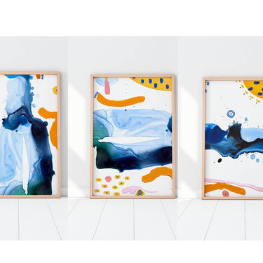 Set of 3 art prints-  Large modern art-  abstract painting-  summer color- Ocean blue art- Affordable Art by VioletredStudio