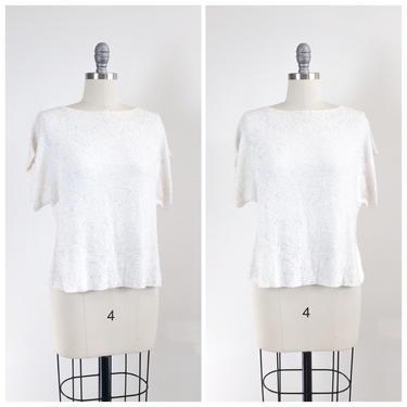 40s Ivory Rayon Crepe BEADED Blouse / 1940s Vintage Short Sleeve Shirt / Medium / Size 8 by CheshireVintageShop