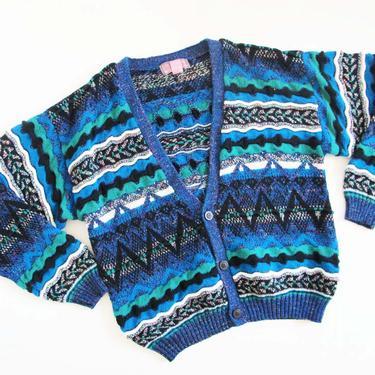 Vintage 90s Coogi Style Cardigan L XL - 1990s Blue Black Aztec Geometric Baggy Cardigan - Oversized Slouchy Chevron Cardigan Sweater by MILKTEETHS