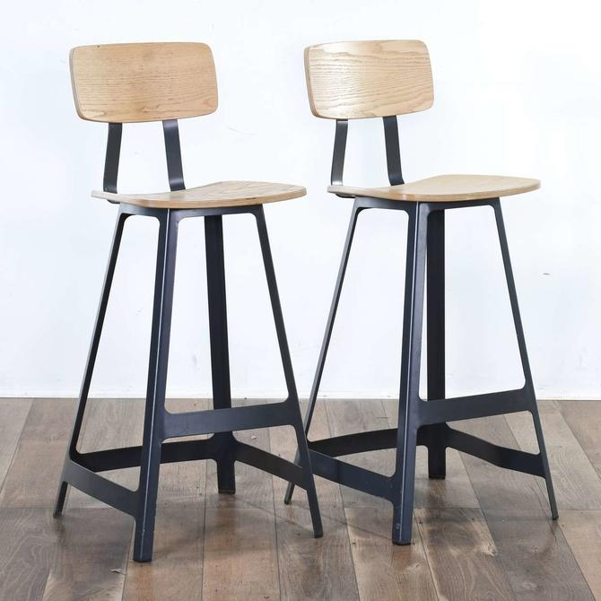 Pair Modernist Industrial Bar Stools 2