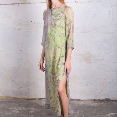 Vintage ETRO Pastel Paisley Print Silk Watercolor Dress with Smocked Back and Side Slits Sheer Sleeves Maxi Smocking S M Abstract by backroomclothing