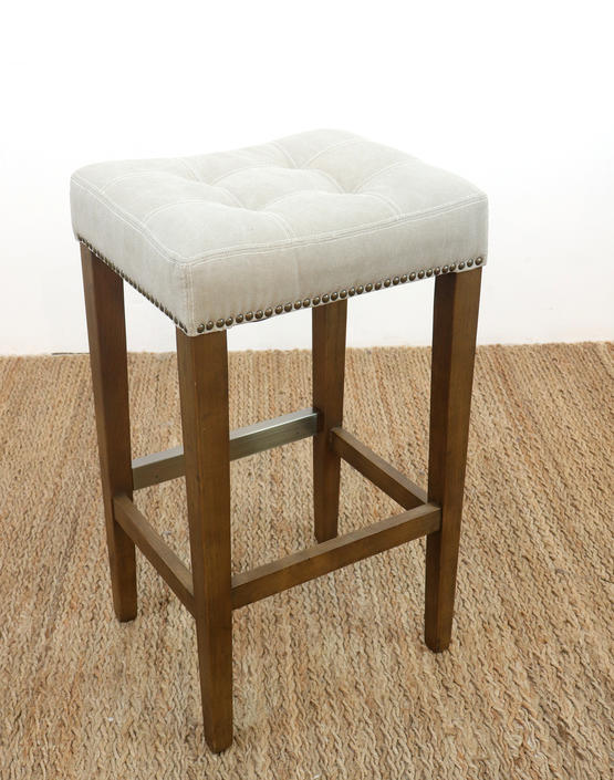 Tufted Wood Upholstered Bar Stools