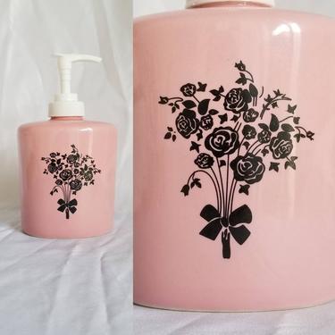 Vintage Pink Soap Dispenser / Black Floral Dispenser / Retro Pink Bathroom Decor / Vintage Soap Pump by SoughtClothier