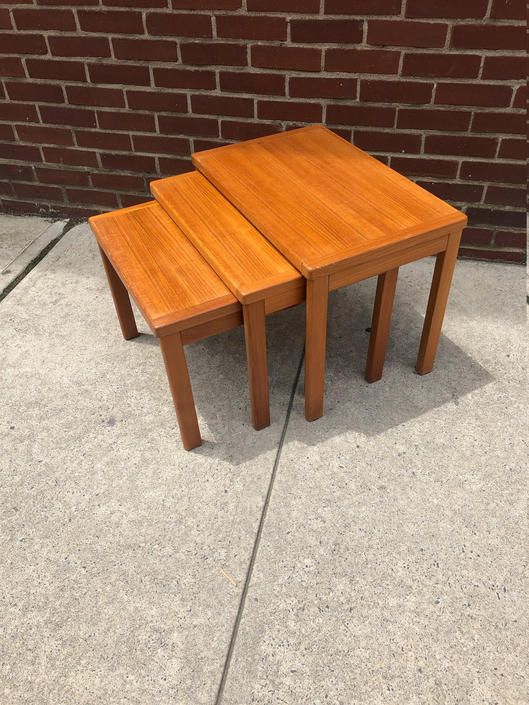 Mid Century Modern Teak Nesting/Stacking Coffee Tables by bcdrygoods