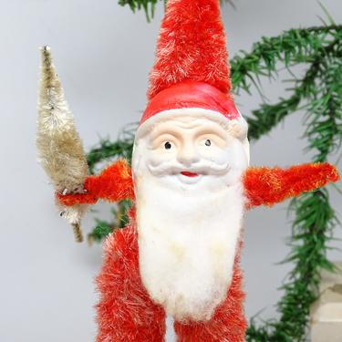 Vintage Large 9 1/2 Inch Santa Christmas Ornament, Hand Painted Plastic Face, Cotton Beard, Chenille Body, Faux Feather Tree by exploremag
