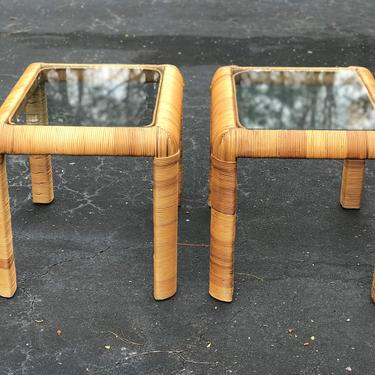 Great pair of vintage rattan wrapped side tables / nightstands by HolbrookBazaar