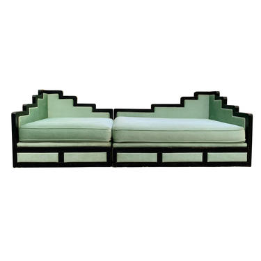 Hollywood Regency Art Deco Style Mint Green Sofa by TheModernHistoric