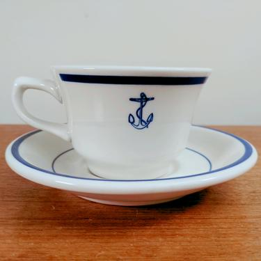 Vintage US Navy Fouled Anchor Cup and Saucer(s)   HLC Homer Laughlin Buffalo China   Restaurantware   USA by TheFeatheredCurator