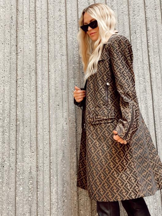 Vintage FENDI FF Zucca Print Monogram Womens Brown Black Trench Jacket Dress Coat It 44 by MoonStoneVintageLA