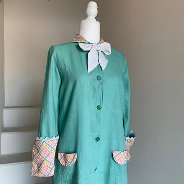 Amazing 1920s Smock Dress Button Front Cotton Linen Antique Vintage 40 Bust by AmalgamatedShop