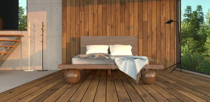 Custom bed with round posts for Kate by MOKUArtisanFurniture