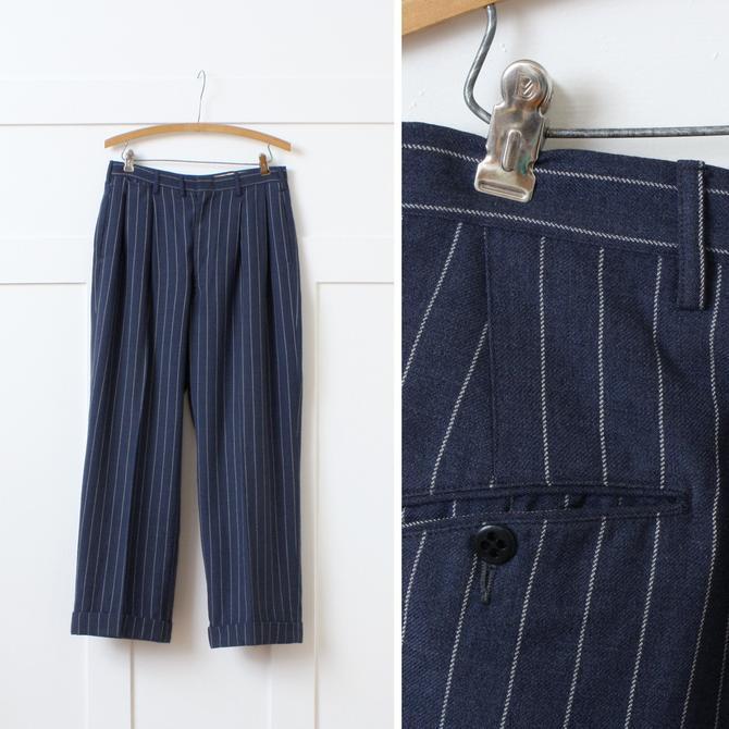 mens vintage 1940 wool trousers • dark blue wide leg chalk stripe pants • forties menswear sz 30 waist by LivingThreadsVintage