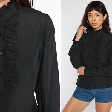 Black TUXEDO Shirt Ruffle Blouse 80s Button Up Top 1980s Victorian Vintage Long Puff Sleeve Secretary Shirt 70s Medium by ShopExile