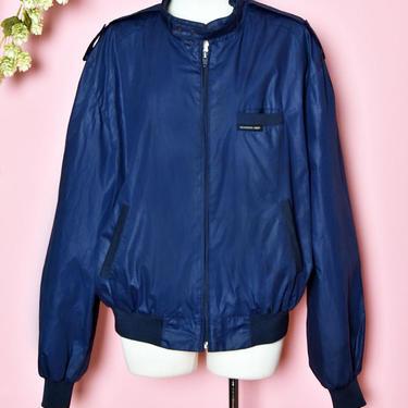 "Mens MEMBERS ONLY vintage 1970's, 1980's Jacket Dark Blue, Wind breaker Coat Hippie Preppy Boho, Chest 50"", Size 46, Large by Boutique369"