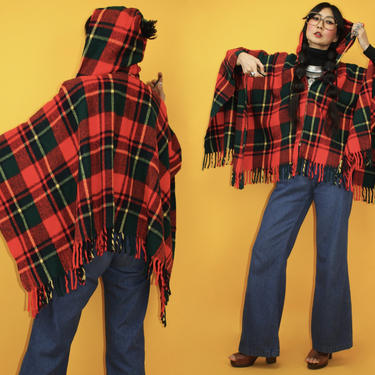 Vintage 70s Pom Pom Hooded Plaid Fringe Poncho / Fits all sizes / red tartan check hoodie blanket cape / Boho Hippie / 1970s 1960s retro by TheeAppleBoutique