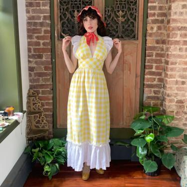 70's CHECKED MAXI DRESS - yellow and white - low side and back - small by GlamItToHell