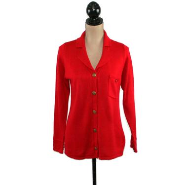 80s Red Knit Cardigan Women Small Medium, Acrylic Collared Button Up Sweater with Single Breast Pocket, 1980s Clothes Vintage Clothing by MagpieandOtis