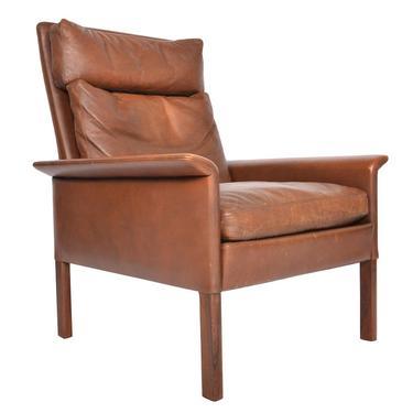 Danish Mid Century Modern Hans Olsen Leather + Rosewood Highback Lounge Chair by MidCenturyMobler