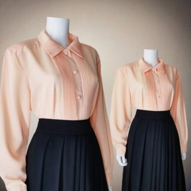 Vintage Pintucked Blouse, Large / Peach Button Blouse / Long Sleeve Cocktail Blouse / Classic 1940s Pinup Style Button Up Dress Blouse by SoughtClothier