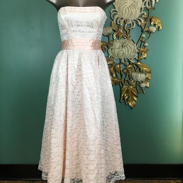 1980s party dress, strapless lace dress, vintage 80s dress, gunne sax, Jessica McClintock, x small, peach satin, 1950s style dress, prom, 25 by BlackLabelVintageWA