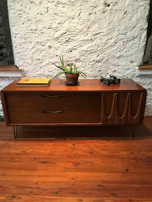 Mid century dresser danish modern media cabinet mid century bachelors chest by VintaDelphia