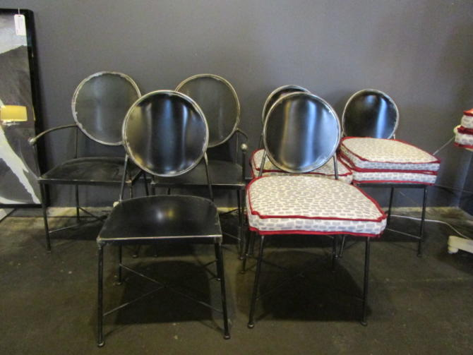 SET OF SIX  OVAL BACK WROUGHT IRON DINING CHAIRS WITH DETACHABLE CUSHIONS