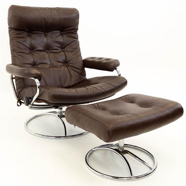 Ekornes Stressless Mid Century Reclining Swivel Brown Leather Lounge Chair & Ottoman - mcm by ModernHill