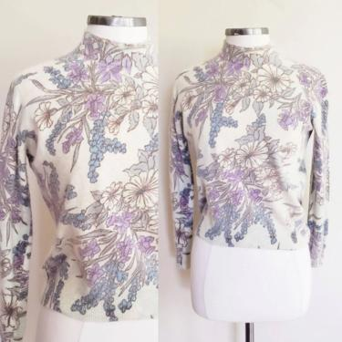1950s Turtleneck Sweater Cream Angora Wool Blue Flowers / 50s Floral Print Pullover Fitted Top Indigo Violet  / Small / Bettrys by RareJuleVintage