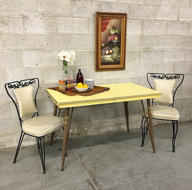 Vintage Formica Kitchen Table Retro 1950 39 S Mid Century Modern Yellow Metal Tabletop And Brown Legs Local Pickup Only By Retrospectvintage215 From Retrospect Vintage Of Philadelphia Pa Attic
